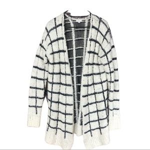 BP super fuzzy black and white long cardigan M